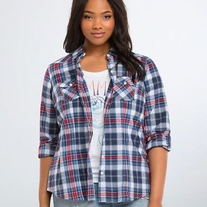 TORRID Plaid Camp Shirt with button at sleeves 4X